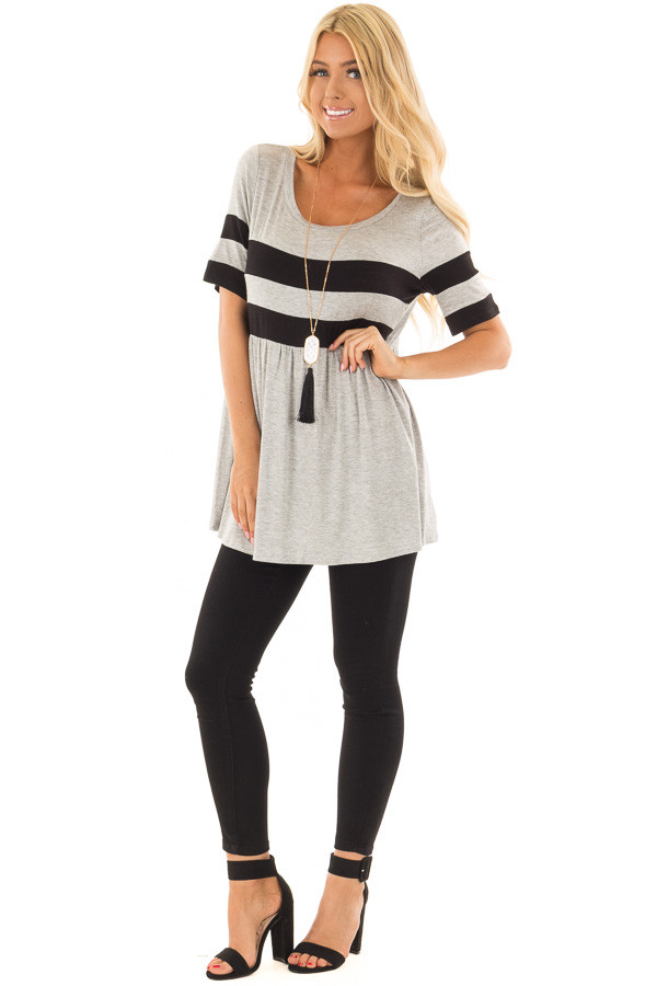 Heather Grey Tunic with Black Stripe Detail front full body