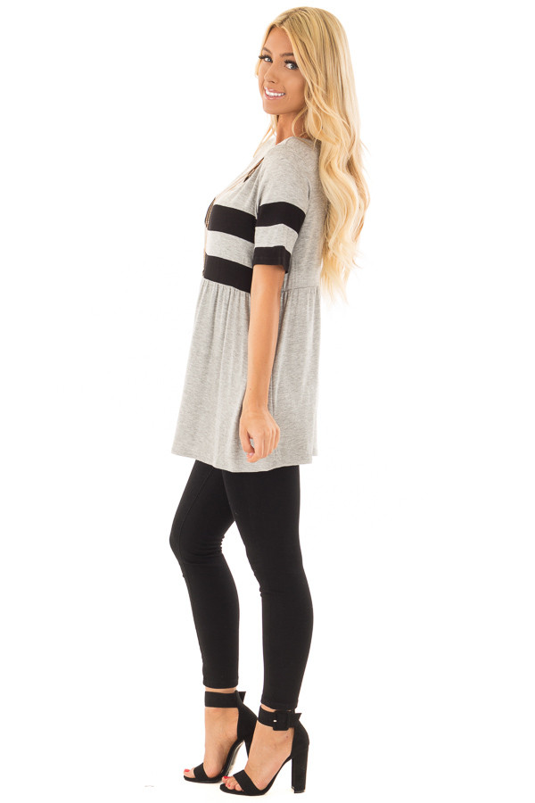 Heather Grey Tunic with Black Stripe Detail side full body