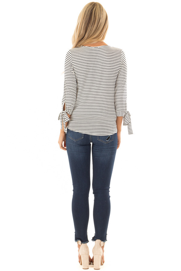 Ivory and Deep Navy Striped Criss Cross Drape Top back full body