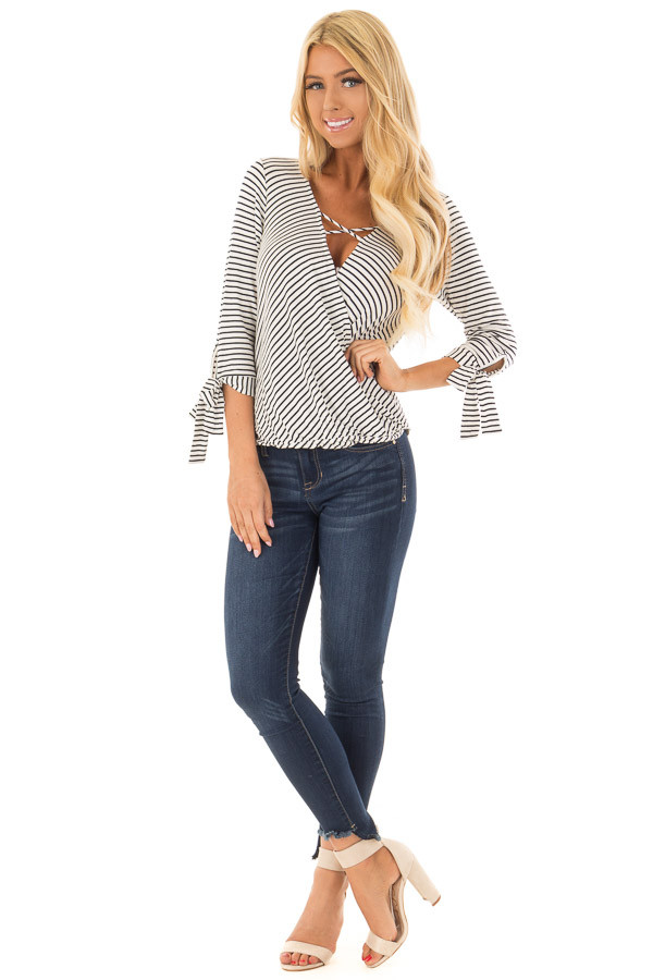 Ivory and Deep Navy Striped Criss Cross Drape Top front full body