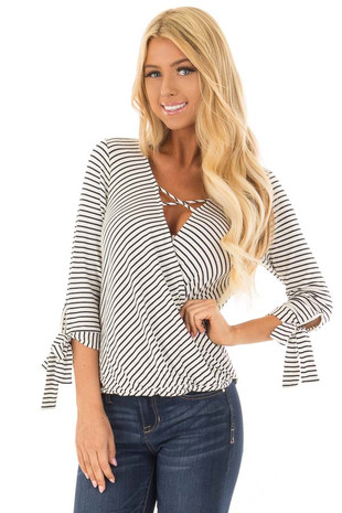 Ivory and Deep Navy Striped Criss Cross Drape Top front closeup