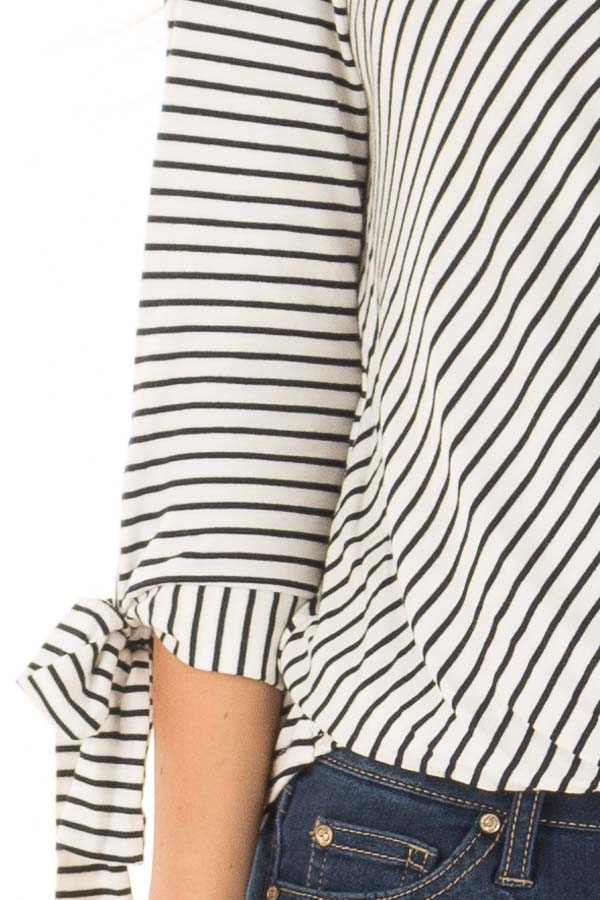 Ivory and Deep Navy Striped Criss Cross Drape Top front detail