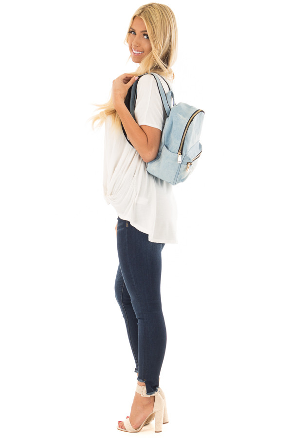 Washed Out Denim Mini Backpack side full body