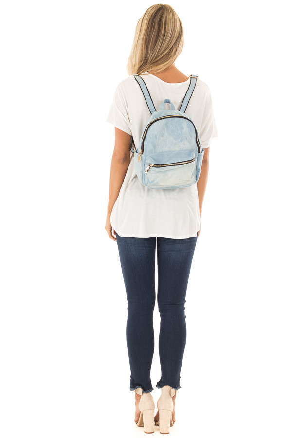 Washed Out Denim Mini Backpack back full body