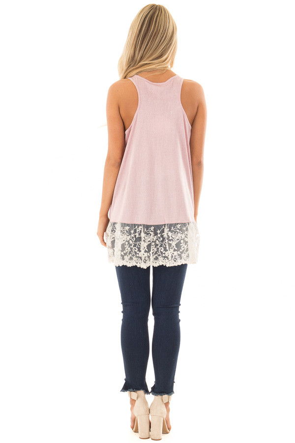 Light Pink Tank Top with Ivory Sheer Lace Contrast back full body
