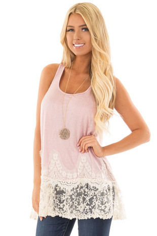Light Pink Tank Top with Ivory Sheer Lace Contrast front closeup