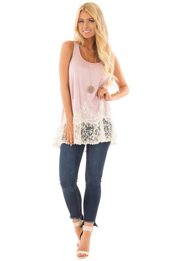Light Pink Tank Top with Ivory Sheer Lace Contrast front full body