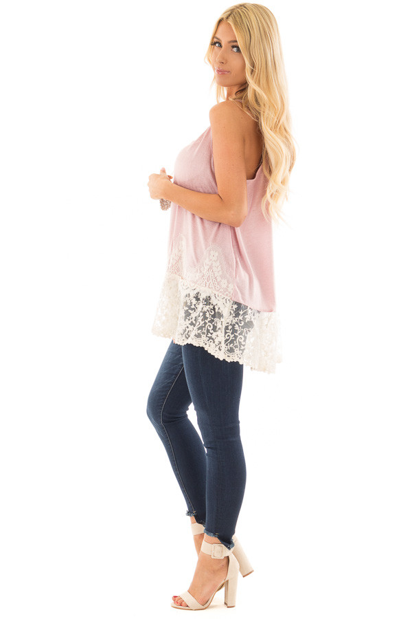Light Pink Tank Top with Ivory Sheer Lace Contrast side full body