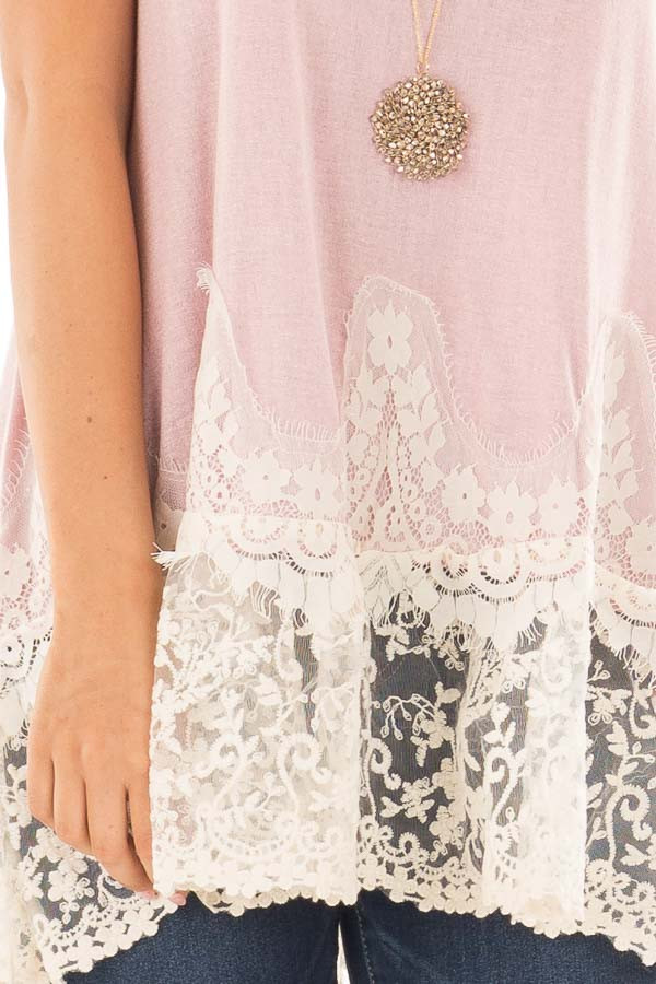 Light Pink Tank Top with Ivory Sheer Lace Contrast front detail