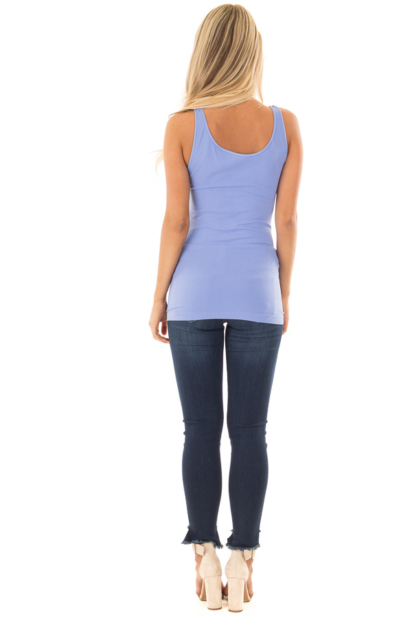 Periwinkle Seamless Long Tank Top back full body