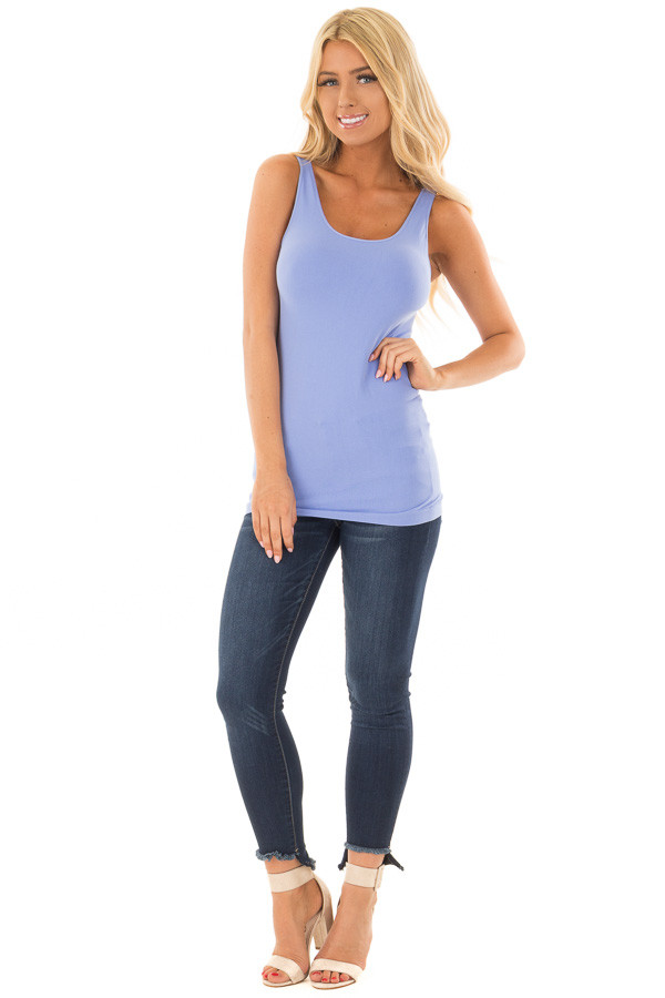 Periwinkle Seamless Long Tank Top front full body