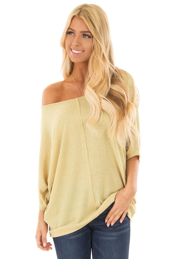 Mustard Yellow Half Sleeve Dolman Boatneck Top front closeup