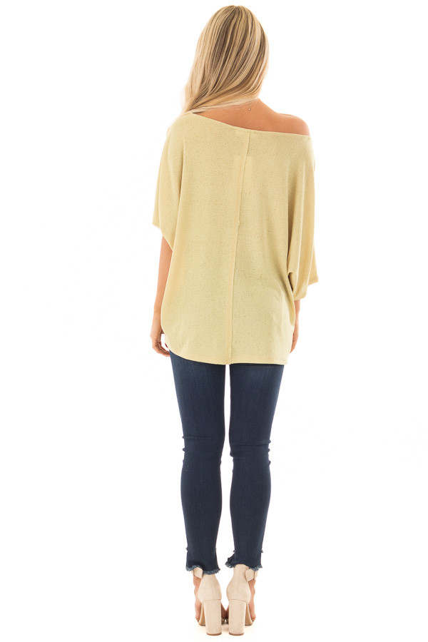 Mustard Yellow Half Sleeve Dolman Boatneck Top back full body