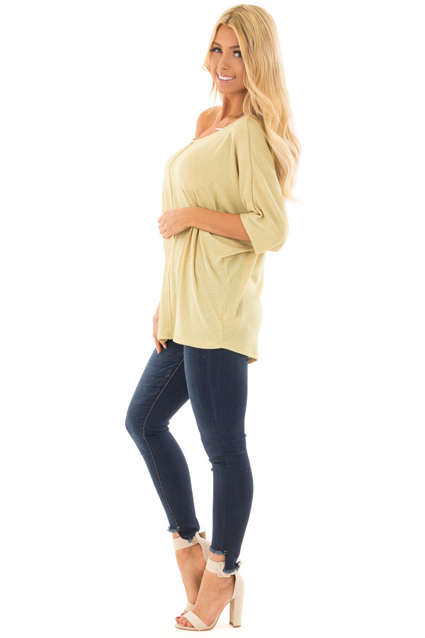 Mustard Yellow Half Sleeve Dolman Boatneck Top side full body