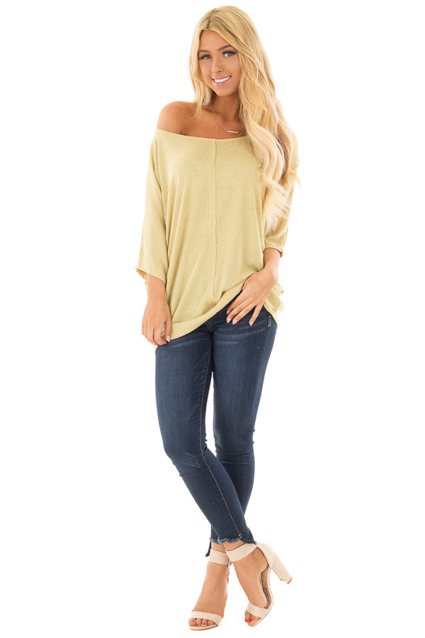 Mustard Yellow Half Sleeve Dolman Boatneck Top front full body