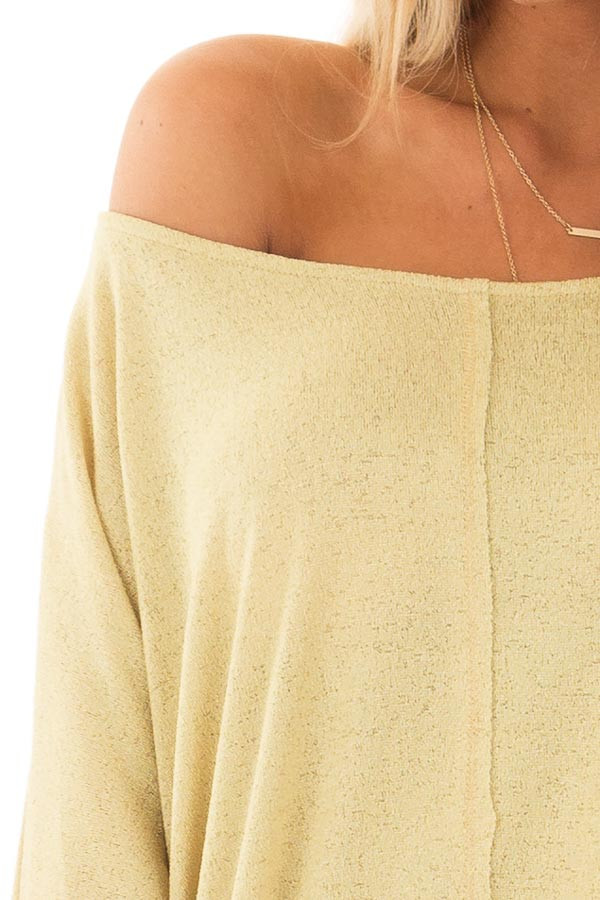 Mustard Yellow Half Sleeve Dolman Boatneck Top front detail