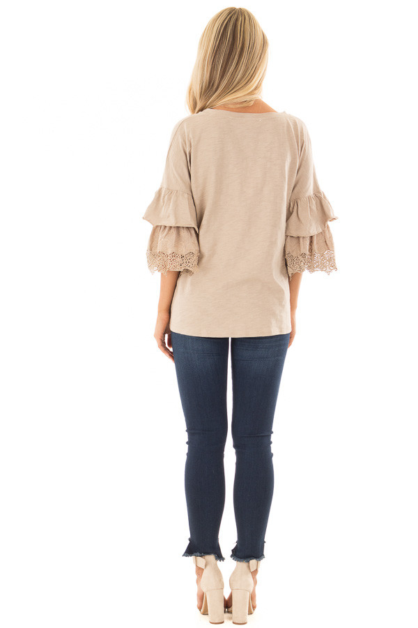 Latte Top with Layered Crochet Bell Sleeves back full body