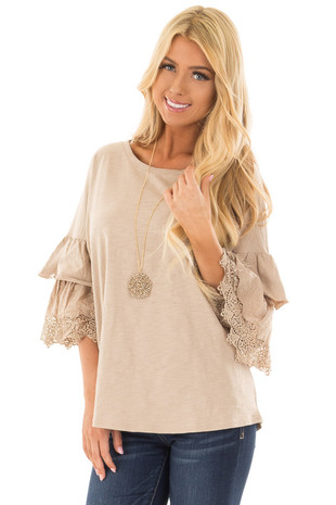 Latte Top with Layered Crochet Bell Sleeves front closeup