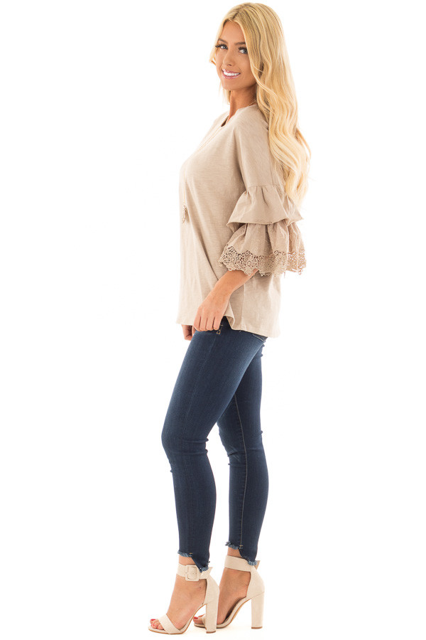 Latte Top with Layered Crochet Bell Sleeves side full body