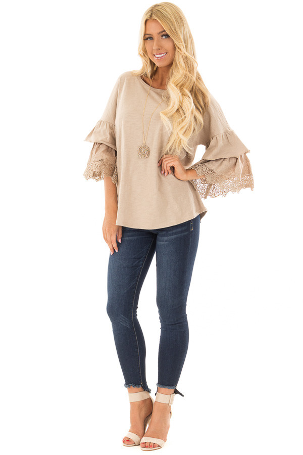 Latte Top with Layered Crochet Bell Sleeves front full body