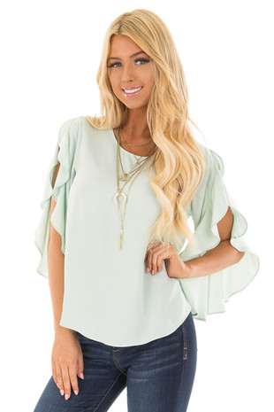 Light Sage Open Sleeve Blouse with Ruffle Detail front closeup