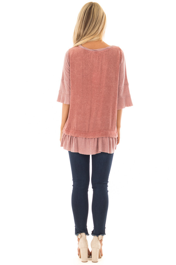 Rose Mineral Wash Top with Ribbed Contrast back full body
