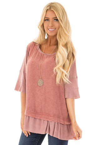 Rose Mineral Wash Top with Ribbed Contrast front closeup