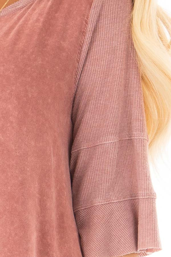 Rose Mineral Wash Top with Ribbed Contrast front detail