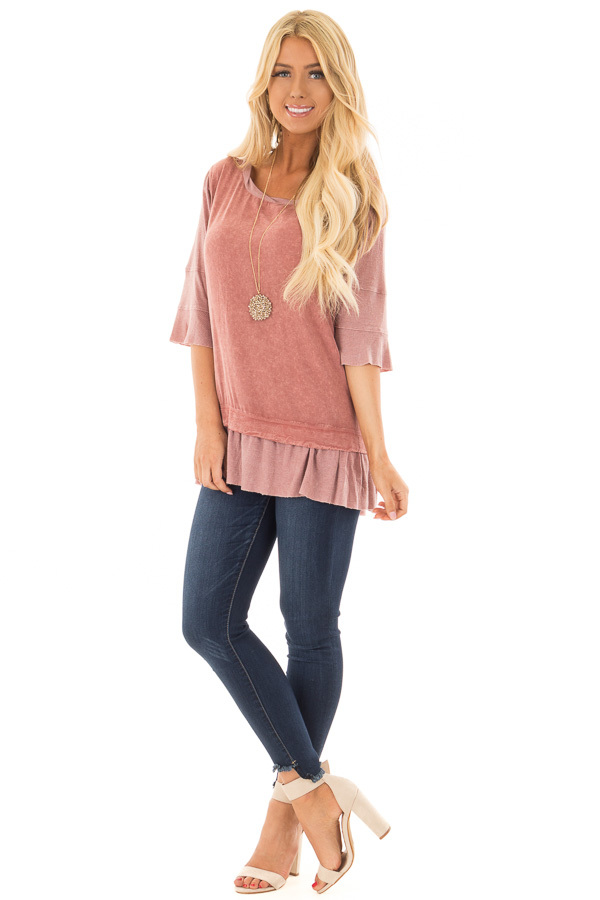 Rose Mineral Wash Top with Ribbed Contrast front full body