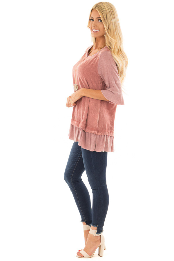 Rose Mineral Wash Top with Ribbed Contrast side full body