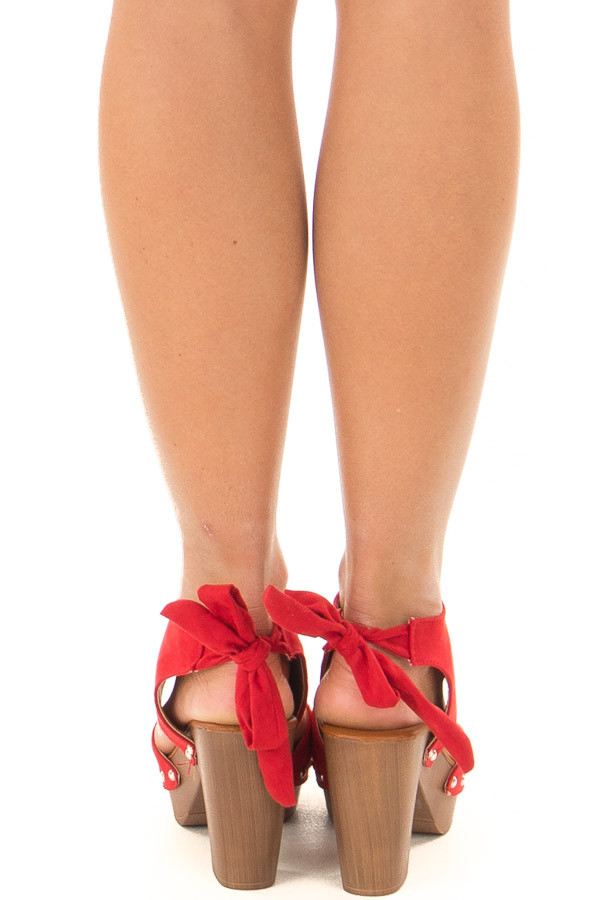 Cherry Red Platform Heels with Wooden Look back