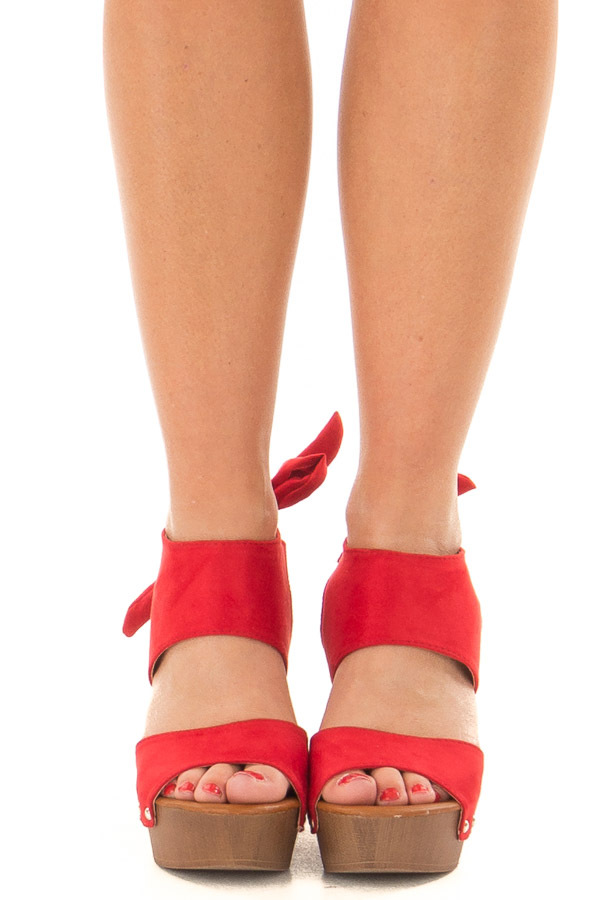 Cherry Red Platform Heels with Wooden Look front