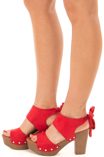 Cherry Red Platform Heels with Wooden Look side