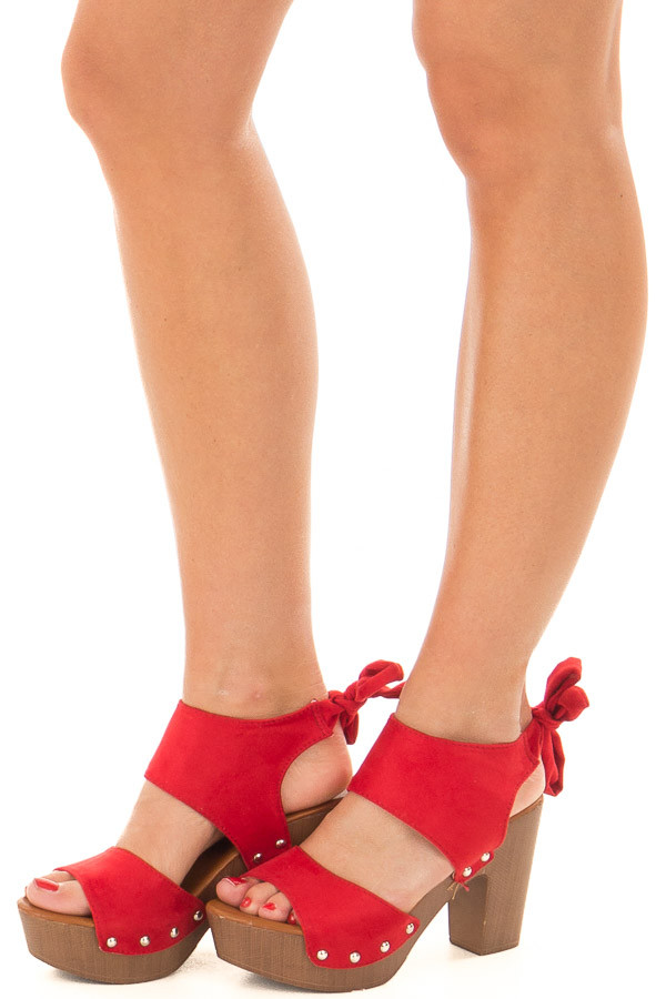 Cherry Red Platform Heels with Wooden Look front side