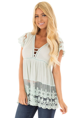 Mint V Neck Top with Sheer Lace Detail front closeup