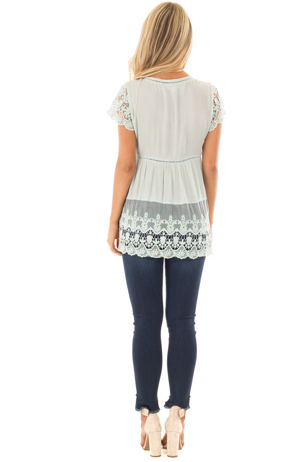 Mint V Neck Top with Sheer Lace Detail back full body
