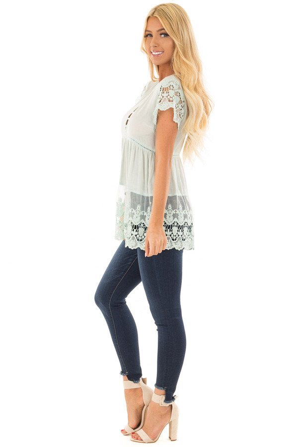Mint V Neck Top with Sheer Lace Detail side full body
