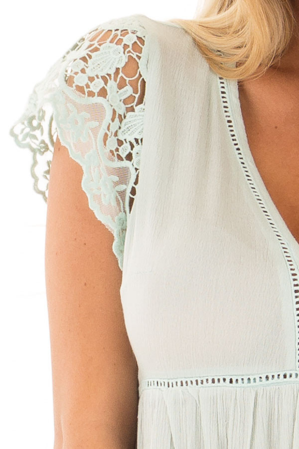 Mint V Neck Top with Sheer Lace Detail front detail