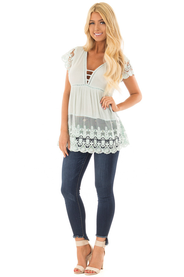 Mint V Neck Top with Sheer Lace Detail front full body