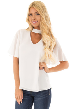 Off White Short Sleeve Blouse with Mock Neckline front closeup