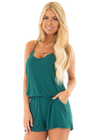 Hunter Green V Neck Romper with Side Pockets front close up