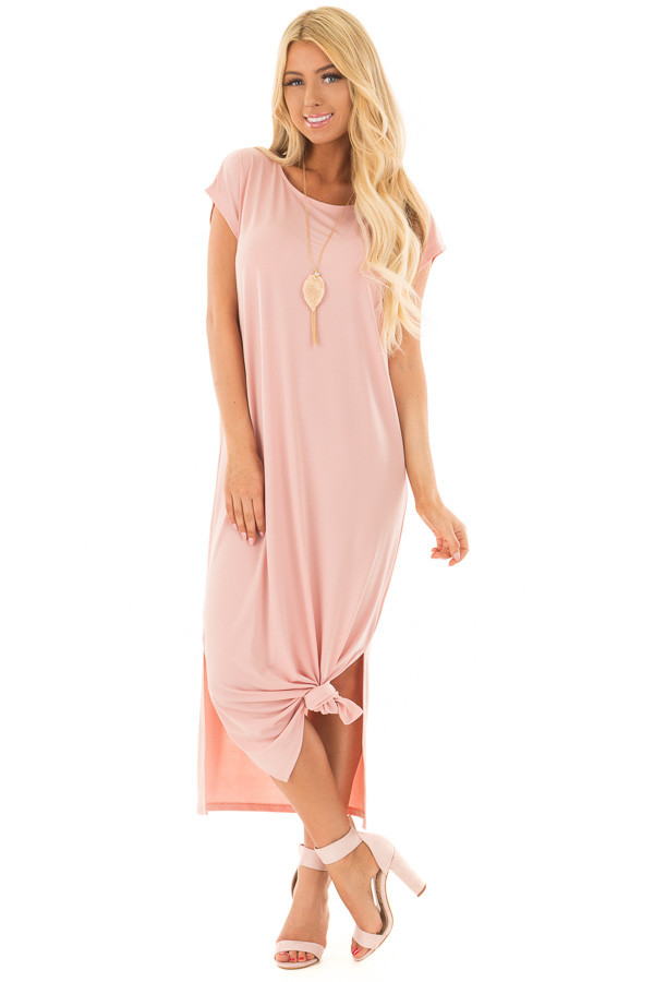 Blush Slinky Maxi Dress with Side Slits front full body