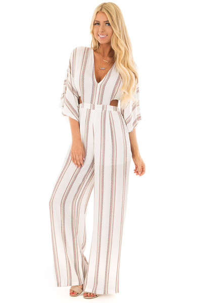 Off White and Deep Red Striped Jumpsuit with Open Back front full body