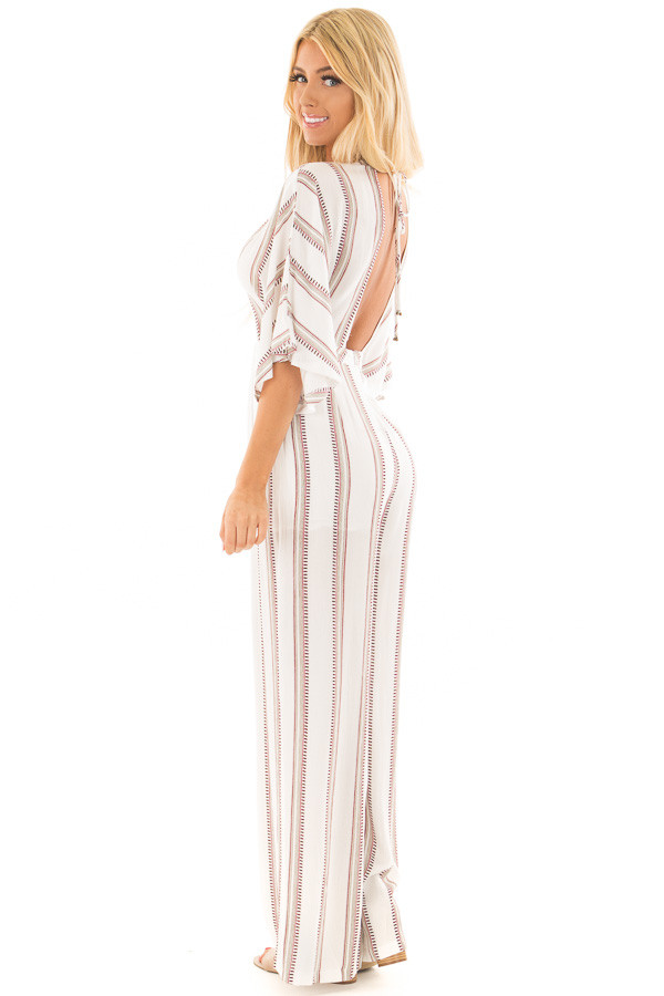 Off White and Deep Red Striped Jumpsuit with Open Back side full body