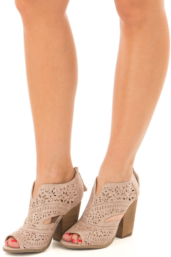 Washed Dark Cream Peep Toe Booties with Cut Out Details front side