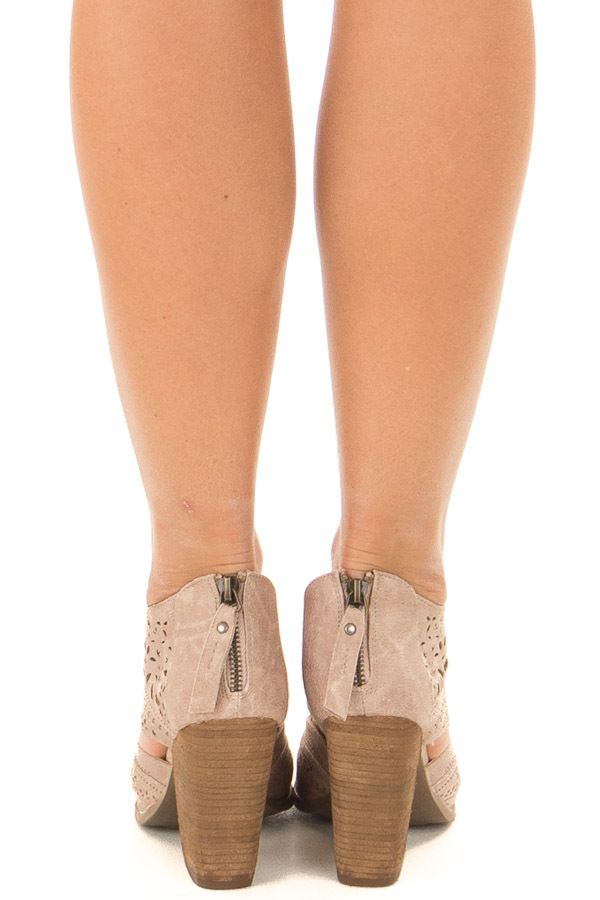 Washed Dark Cream Peep Toe Booties with Cut Out Details back