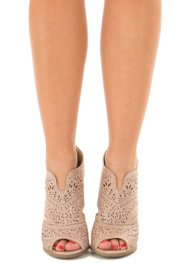 Washed Dark Cream Peep Toe Booties with Cut Out Details front