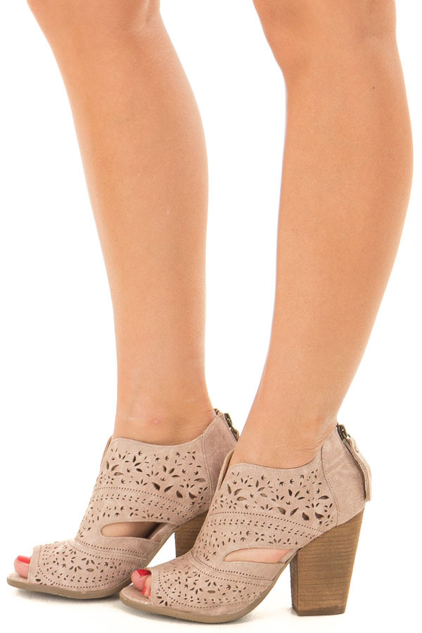 Washed Dark Cream Peep Toe Booties with Cut Out Details side