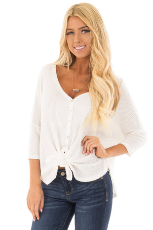 White Waffle Knit Button Up Top with Front Tie Detail front closeup