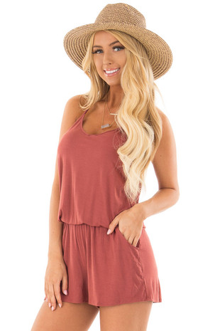 Brick Red V Neck Romper with Side Pockets front closeup